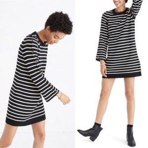 Madewell Striped Button Sleeve Sweater Dress